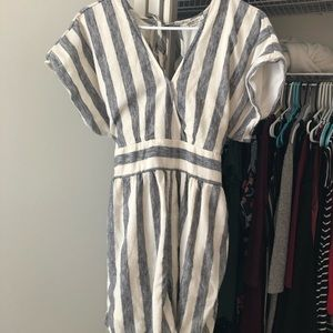Grey and white stripped romper